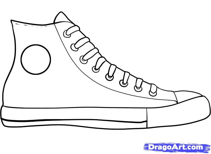 How to Draw Converse, How to Draw Chuck Taylors, Step ...