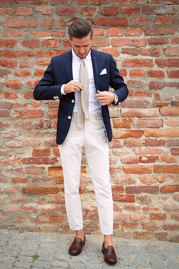 Mens Navy Blazer, White Dress Shirt, Beige Dress Pants