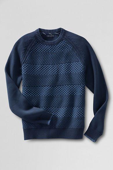 Men's Drifter Cotton Stripe Crewneck Sweater from Lands' End ...