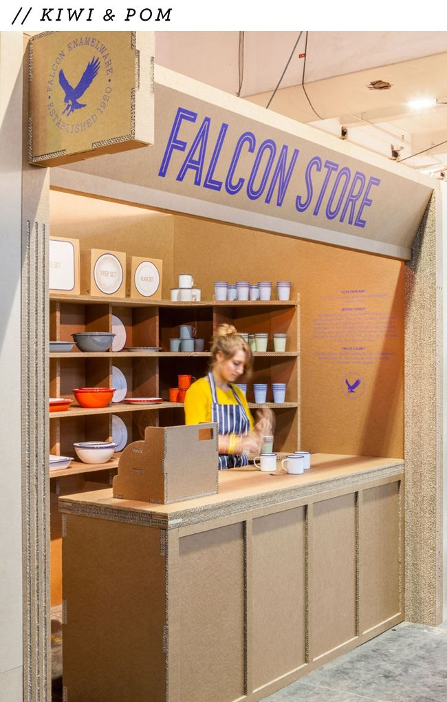 Falcon enamelware pop-up store, London. Made entirely out of corrugated cardboard, even the cash register!