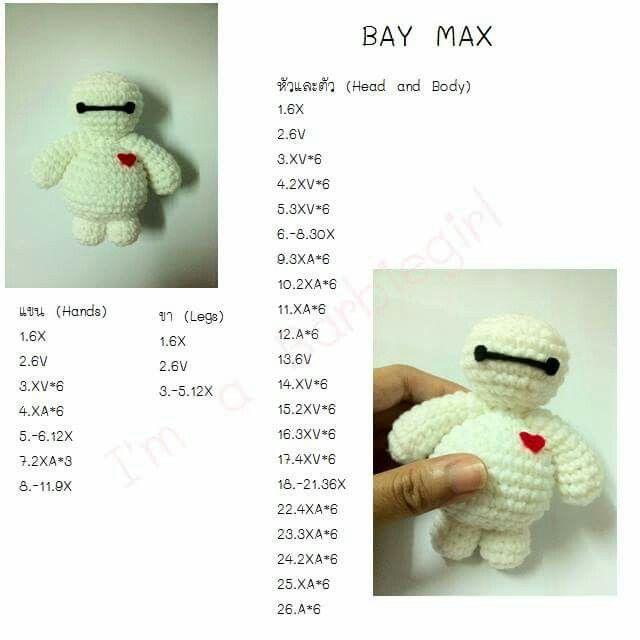BAY MAX | แพทเทิร์นตุ๊กตาถัก | Pinterest | Amigurumi, Crochet and ...