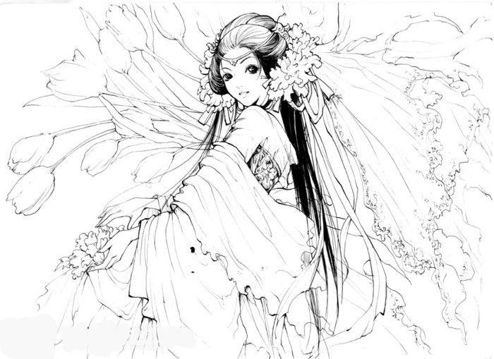 Kleurplaat 线稿古风人物 Manga Paint Digital In 2018 Pinterest