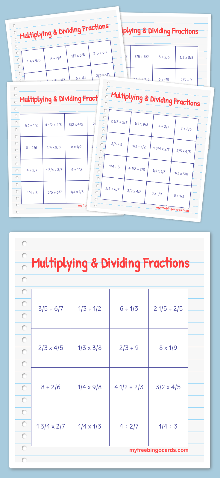 Multiplying & Dividing Fractions Math Bingo | Bingo // teaching ...