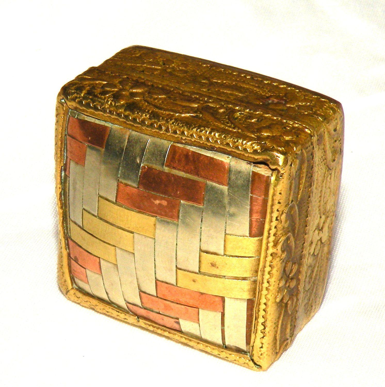 Vintage Snuff Box Gold Tone Copper Metal Pill Box Handmade India