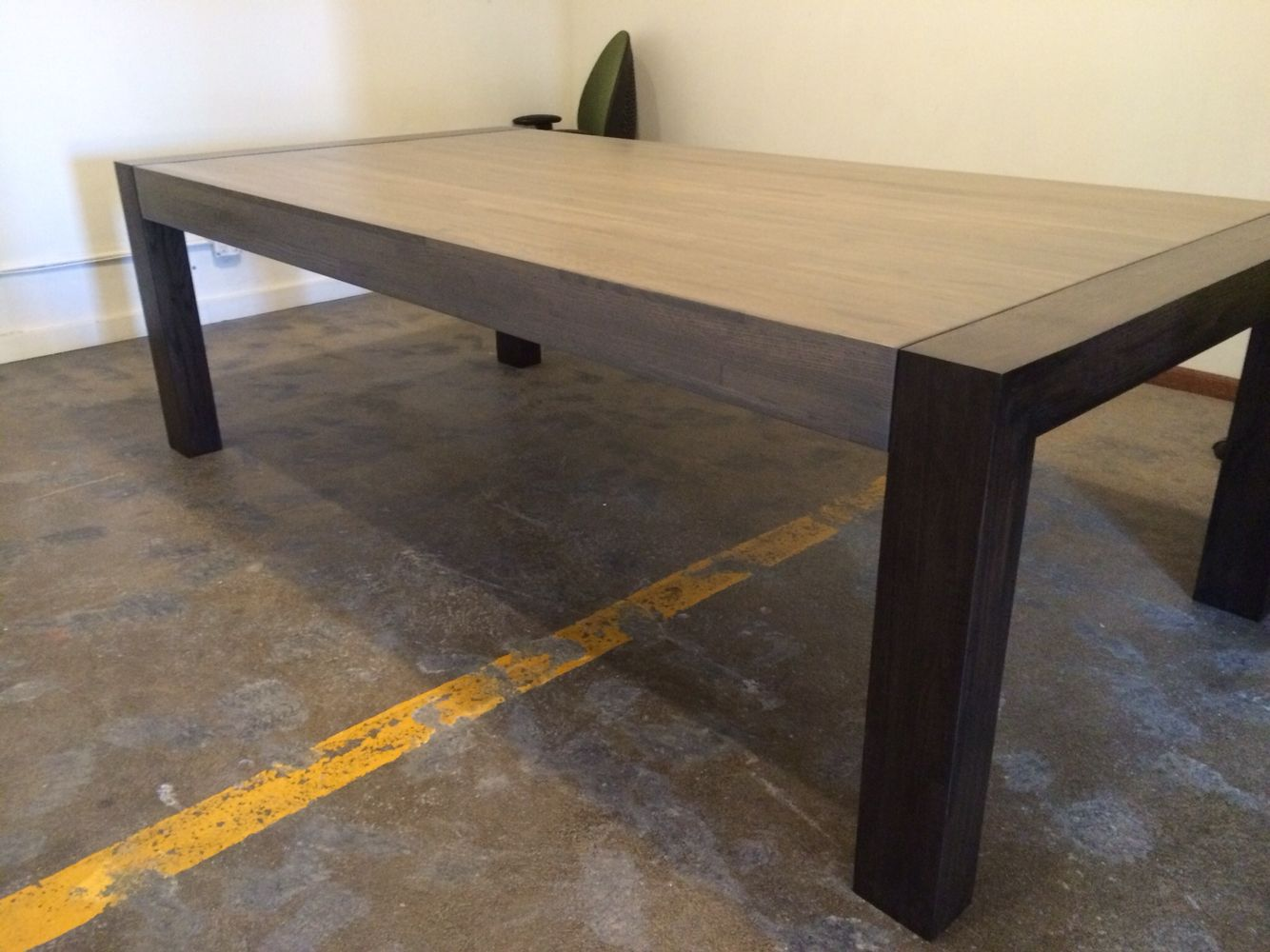Solid White Oak Butcher Block Conference Table. Grey Stain With Ebony  Stained Legs. Satin Finish.