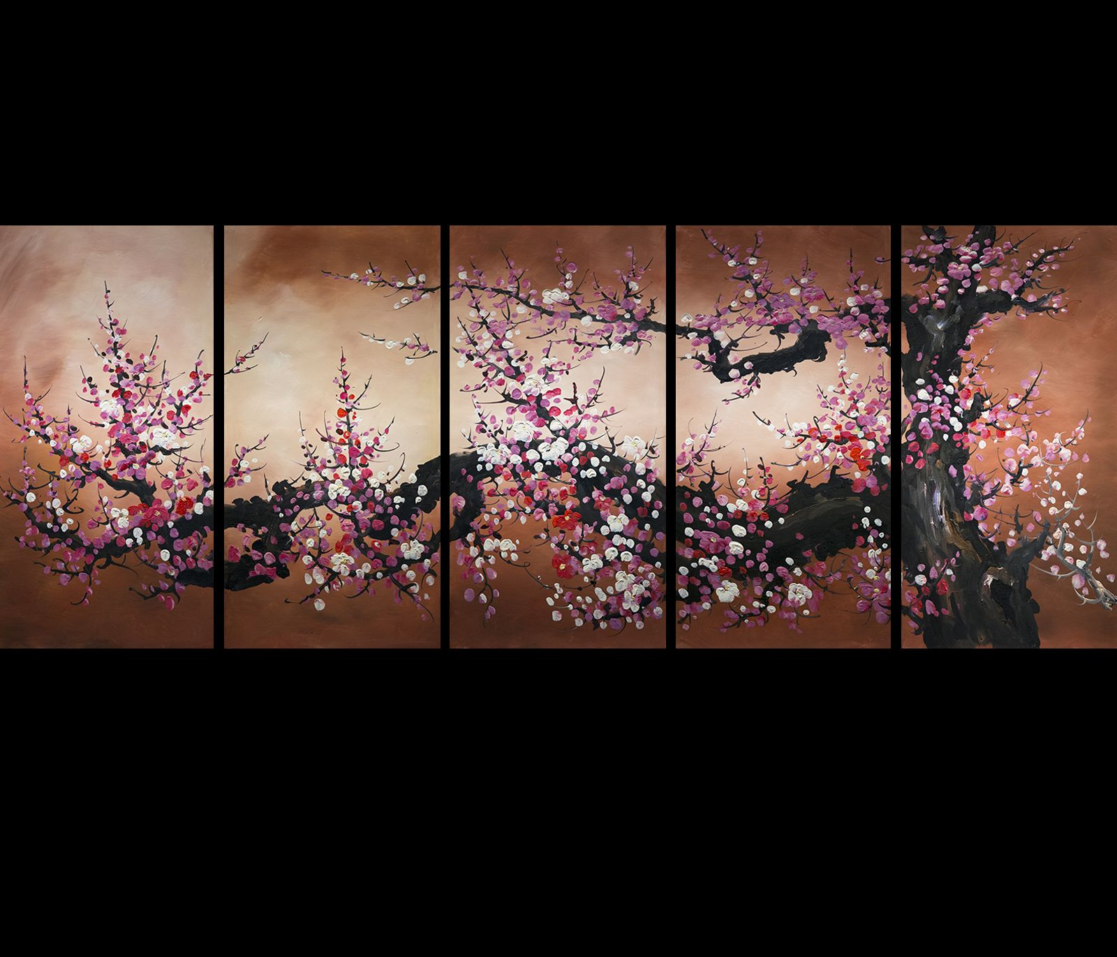 Chinese feng shui painting cherry blossom painting flower for Cherry blossom canvas painting
