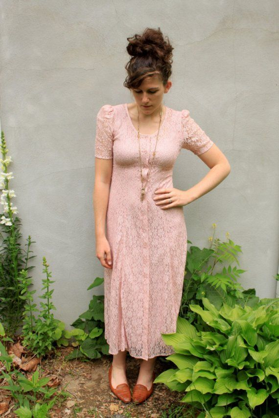 vintage BLUSH pink LACE dress. S   Vestidos de novia alternativos ...
