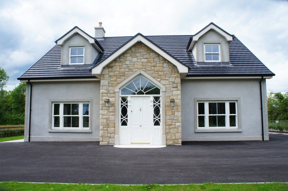 Donegal Omagh Sandstone With Window Surrounds In 2020 Bungalow Exterior Modern Bungalow Exterior House Designs Ireland