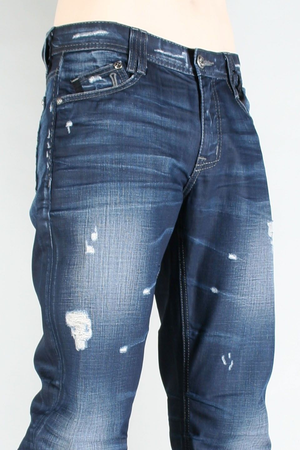 Affliction® Indigo Clothing Mens Boot Cut Low Rise Jeans    Awesome Affliction jean fashions for men are designed for active comfort for the fashion forward man. Men's Affliction jeans make you look and feel good.    SKU: 01SS085-INDIGO    * Indigo Coated Denim  * Slim Straight Fit  * Dark Dirty Thunder Wash with Heavy Whiskering and Authentic Wear tear Details.  * 5 Pocket  * 100% Cotton