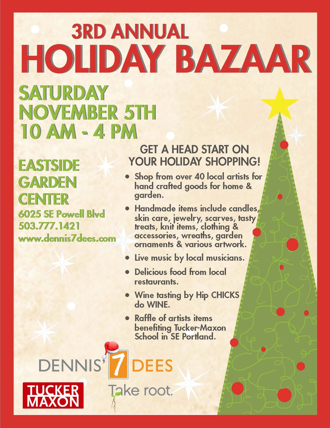Bazaar flyer 2011 final draft vendor ideas for crafts for Holiday craft fairs portland oregon