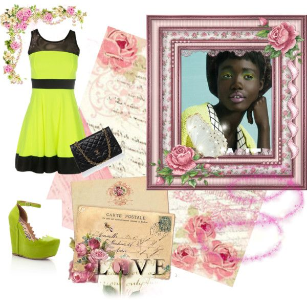 """Neon green and pink template"" by bonita-loki-teixeira on Polyvore"