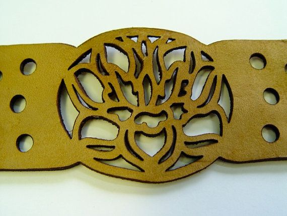 Hand Dyed Laser Cut Leather Bracelet Lotus Flower by WitherAndDye
