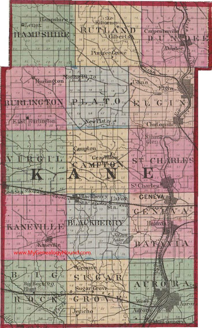 Illinois kane county carpentersville - Kane County Illinois 1870 Map Aurora Batavia St Charles Elgin Carpentersville