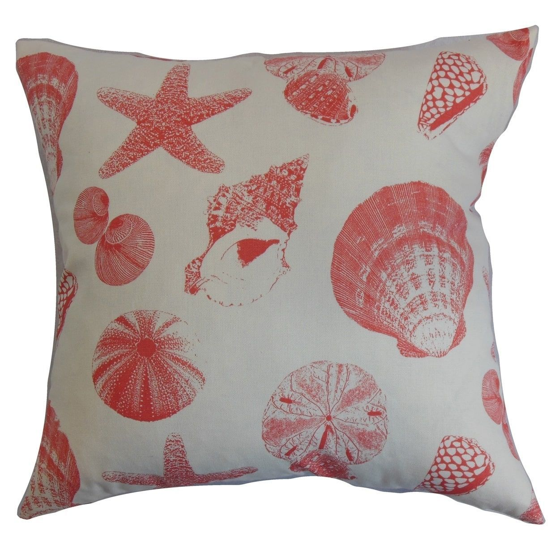 Rata aquatic floor pillow white coral pink size x cotton