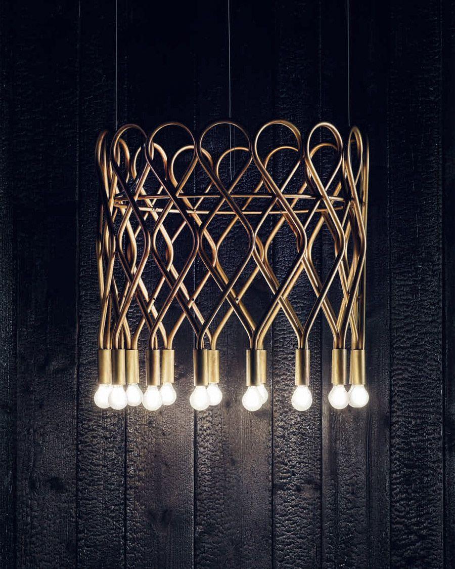 Schwedischer Design Leuchter aus Messing mit 16 Brennstellen