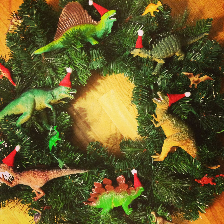 dinosaur christmas wreathpennfoster bemorefestive choosetobemorefestive