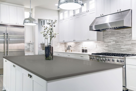 White Cabinets With Gray Countertops Add Depth To Your Kitchen