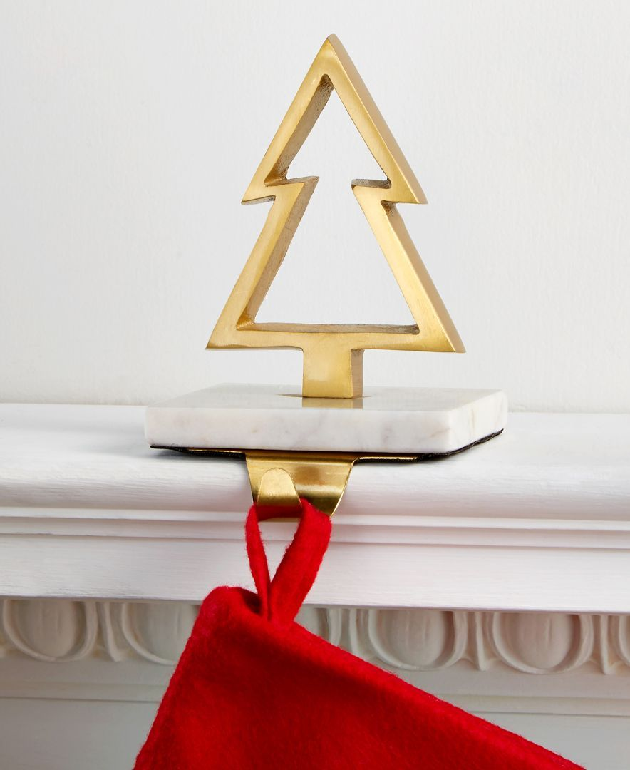 Gold-Tone Christmas Tree Stocking Holder with Marble Base, Created ...