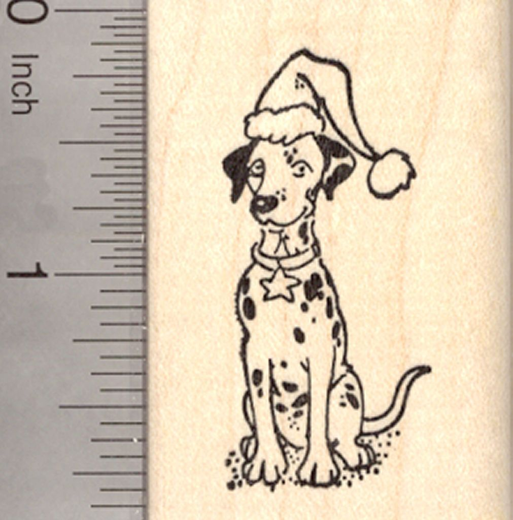 in Wreath and Santa hat Christmas Dachshund Rubber Stamp