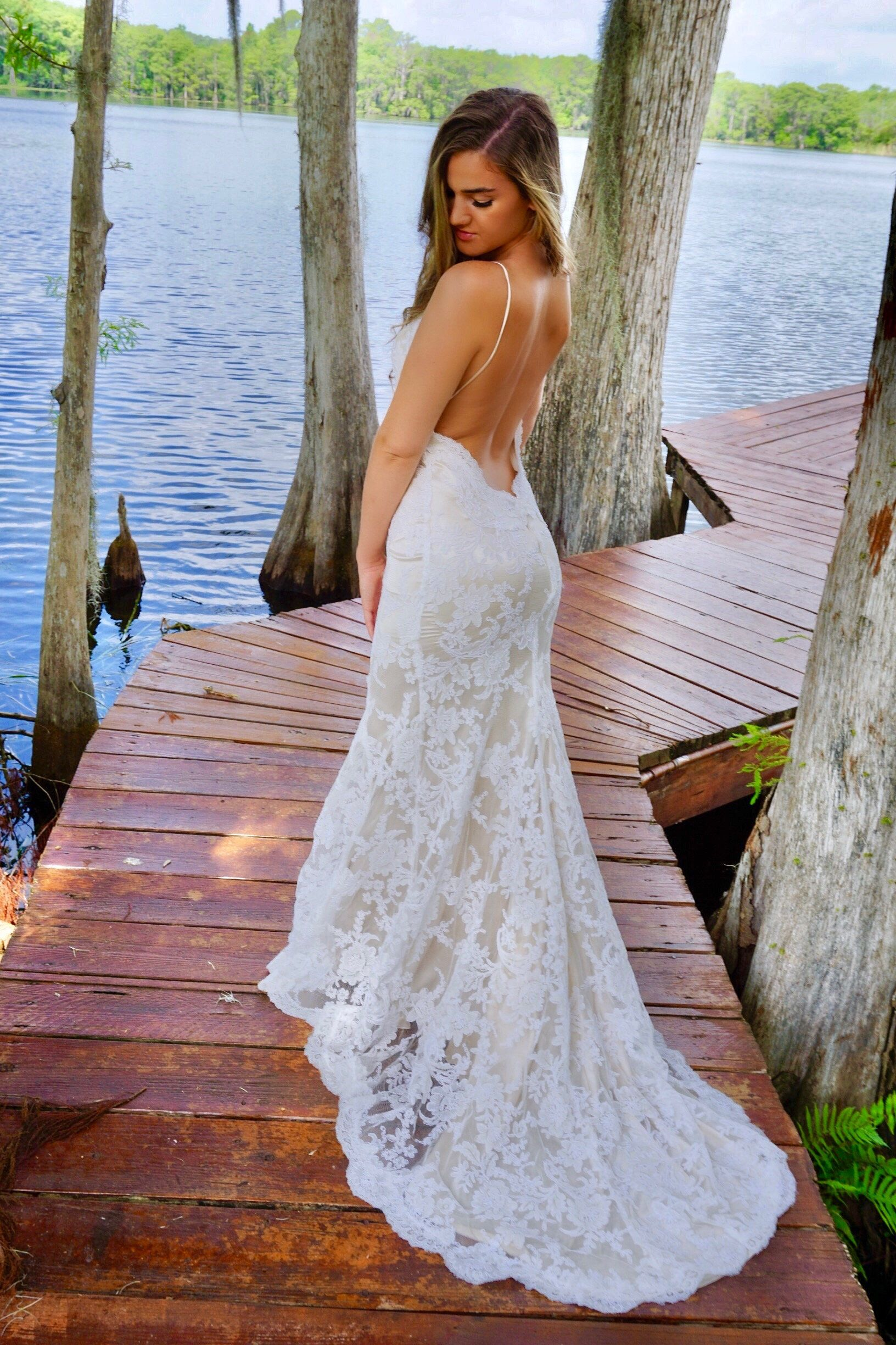 Low Open Back Wedding Dress Backless Bridal Gown Boho Etsy In 2020 Backless Bridal Gowns Tight Wedding Dress Backless Wedding Dress