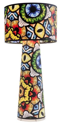 Floor lamp with decorated fabric customized by Marcel Wanders: at first glance appears to be a drawing of an Art Deco glass, with a closer l...