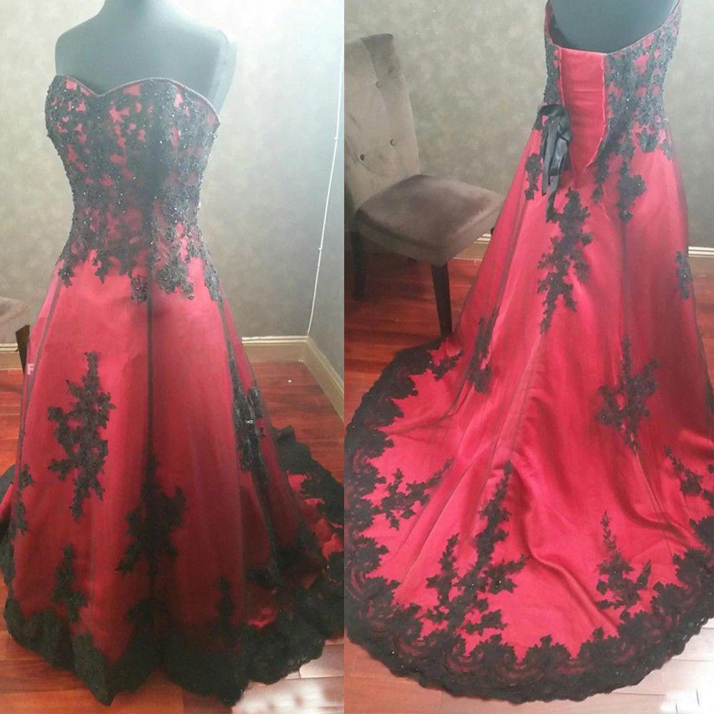 Gothic rot und schwarz Brautkleider Liebsten Spitze Appliques