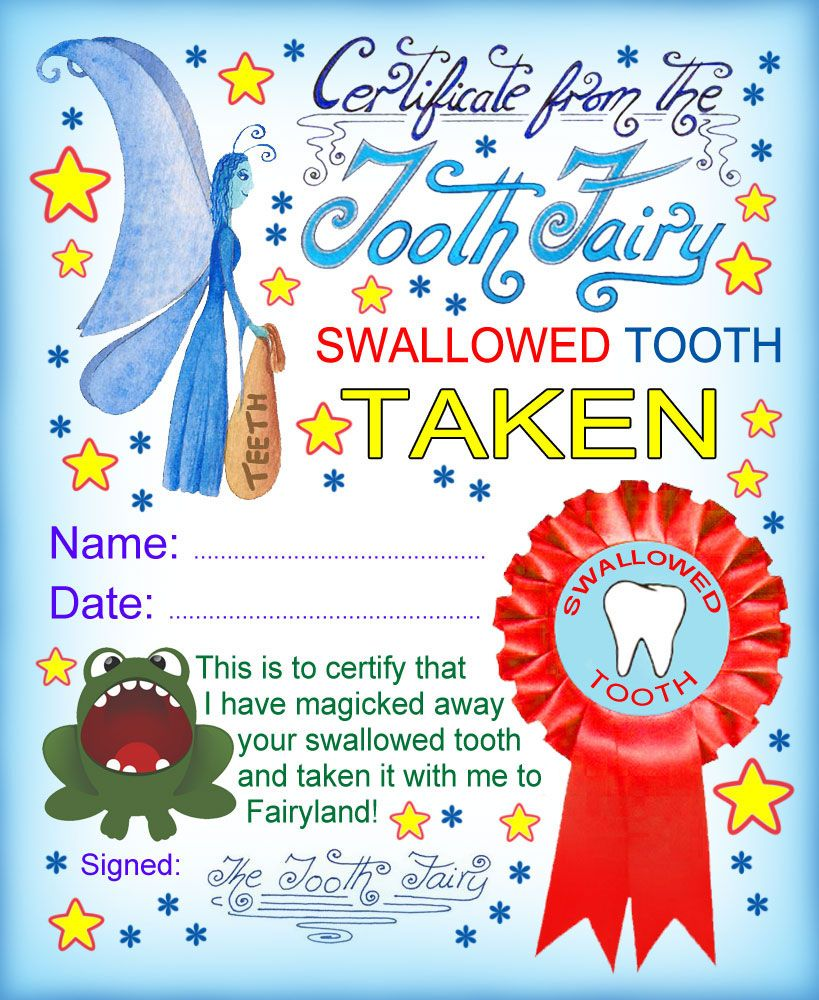 Swallowed Tooth Taken Tooth fairy certificate, Tooth