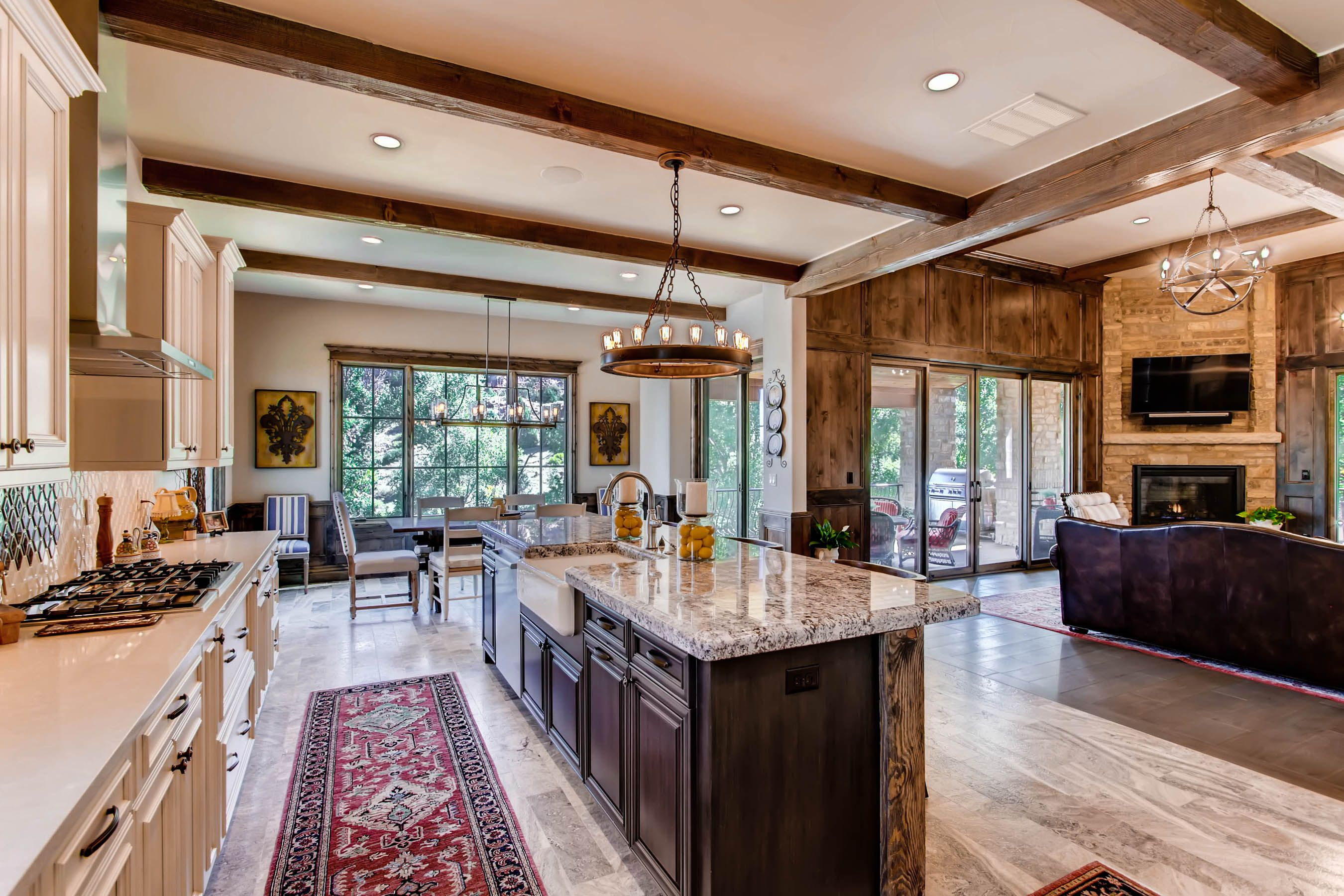 Rustic open floor plan. Kitchen and living room with old