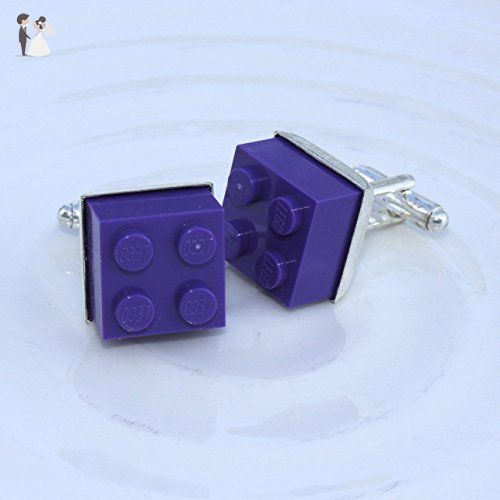 PURPLE LEGO ® Brick Cufflinks and Tie Slide Set Mens Wedding Groom Gift