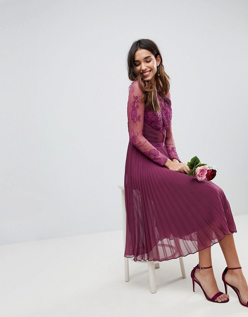 Asos wedding midi dress with lace sleeves and eyelash lace at asos