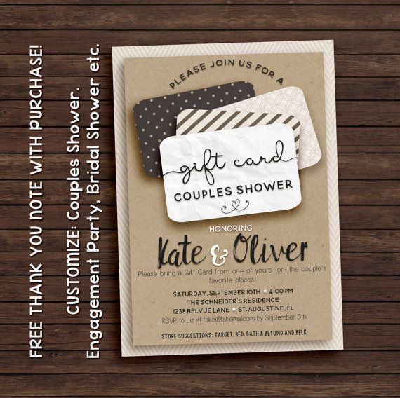 Couples Shower Invitation, Gift Card Invitation, Printable