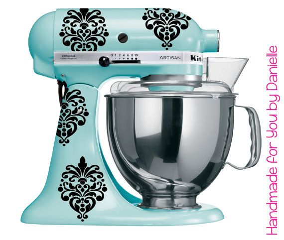 Small Vinyl Damask Decals For Kitchenaid Mixer In Black Or