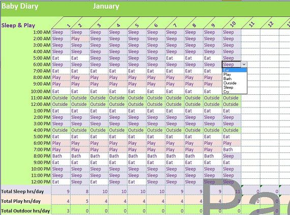 Baby Diary Excel Template Infant Activities Tracker Spreadsheet