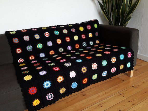 Colorful Throw Blankets Alluring Crochet Blanket Granny Square Blanket Crochet Afghan Blanket Review