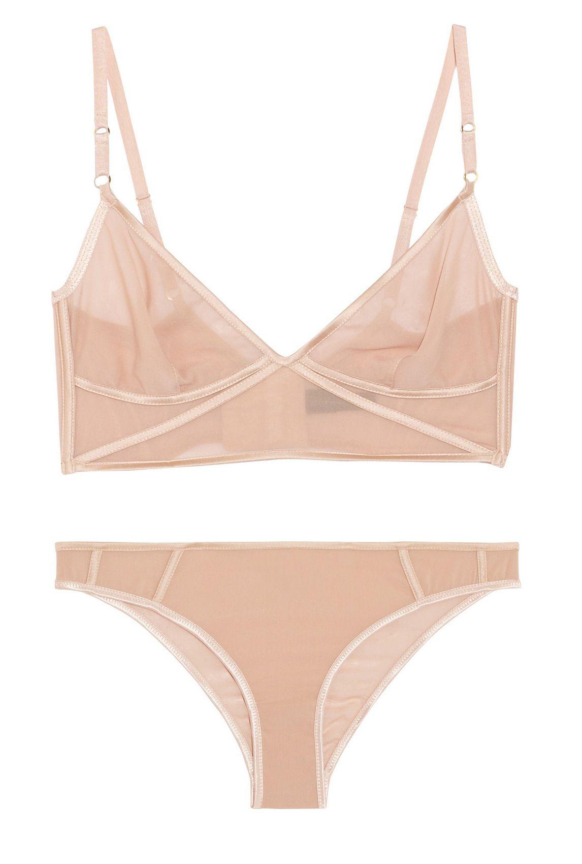 KIKI DE MONTPARNASSE Sheer Taped stretch-silk chiffon soft cup bra and briefs