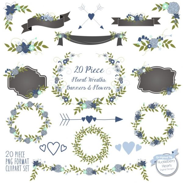 Download Floral Clipart, Flower clipart, Wedding Clipart, Blue ...