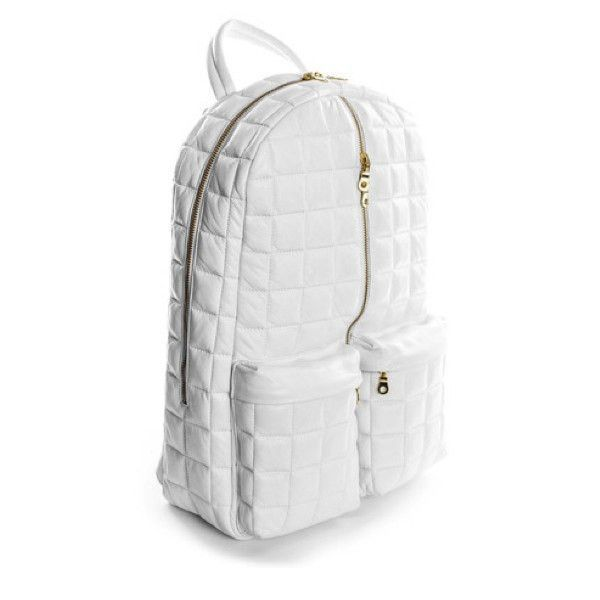 White & Gold Mark 1 Leather Backpack