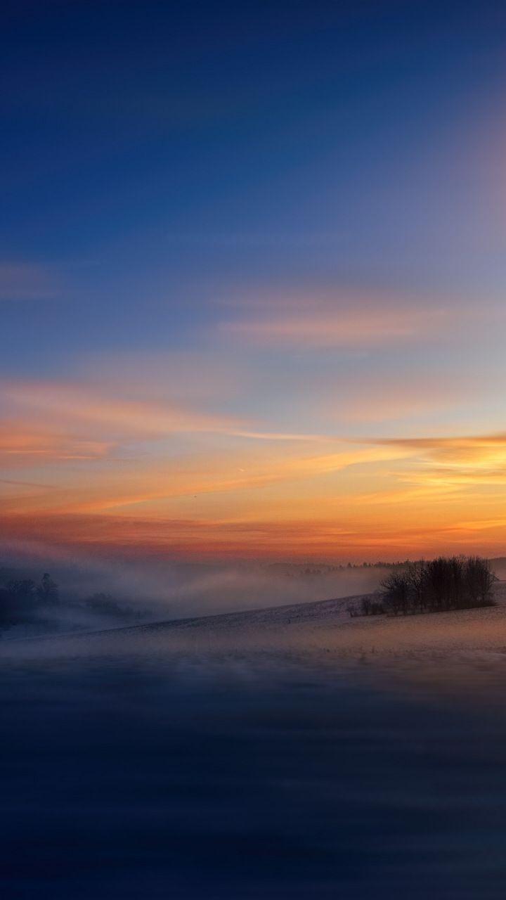 Winter, dawn, sunrise, sky, fog, 720x1280 wallpaper