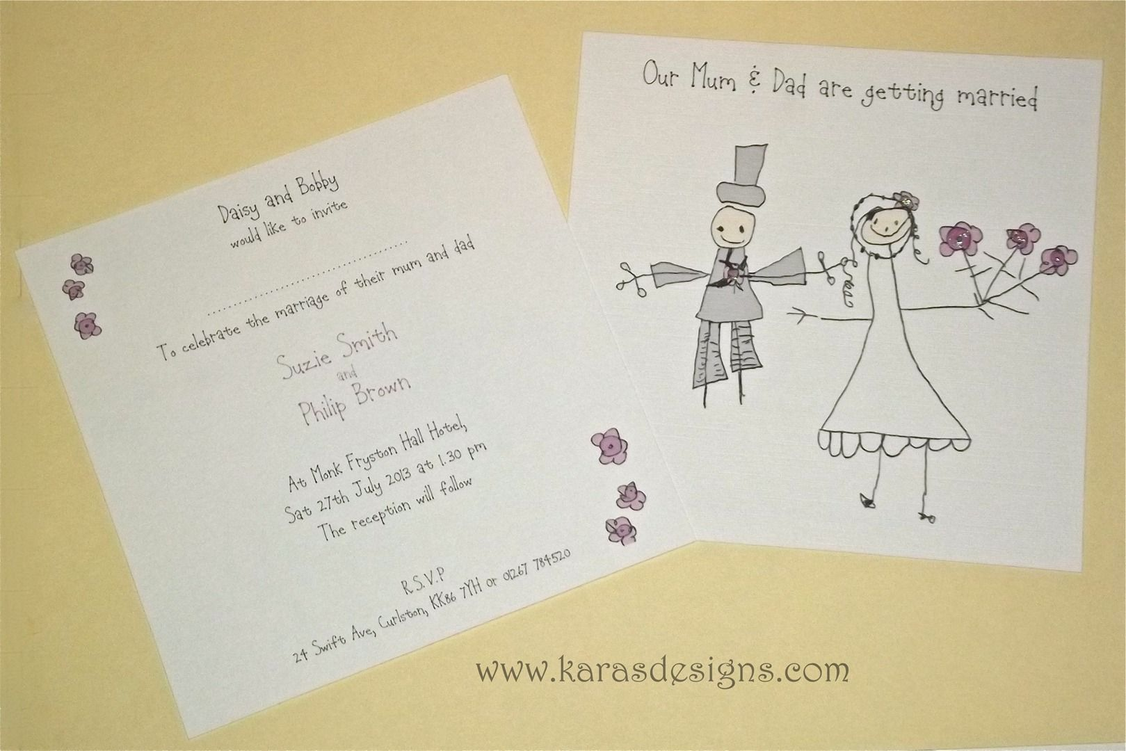 Kids Drawn Wedding Invites flat double sided karasdesignscom