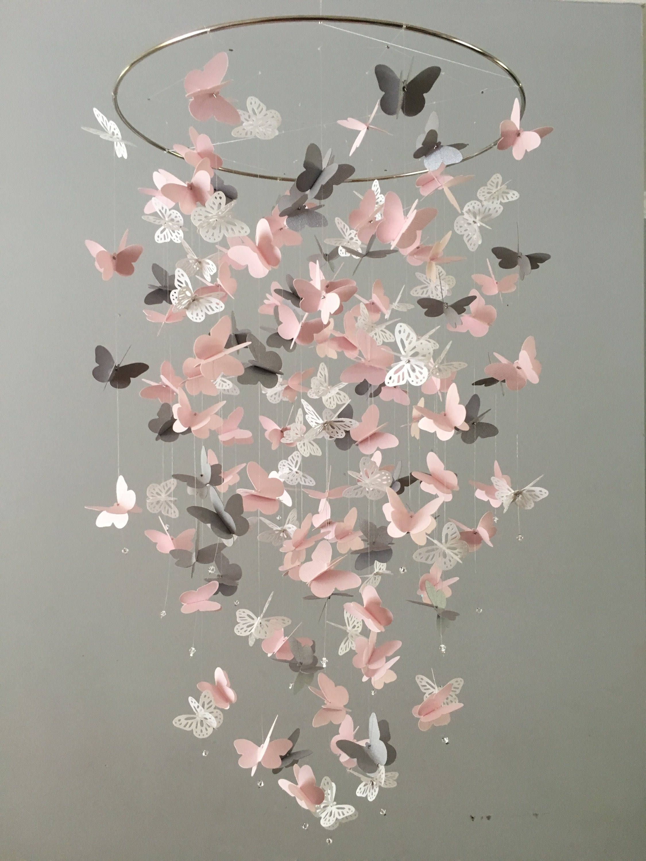 Butterfly chandelier mobile in pink gray and white mostly solid butterfly chandelier mobile in pink gray and white mostly solid butterflies shower arubaitofo Gallery