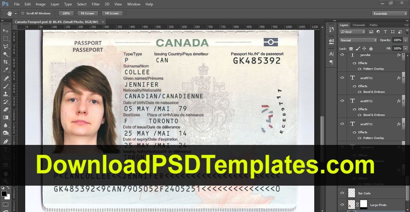 Canada Passport Template Psd Passport Template Passport