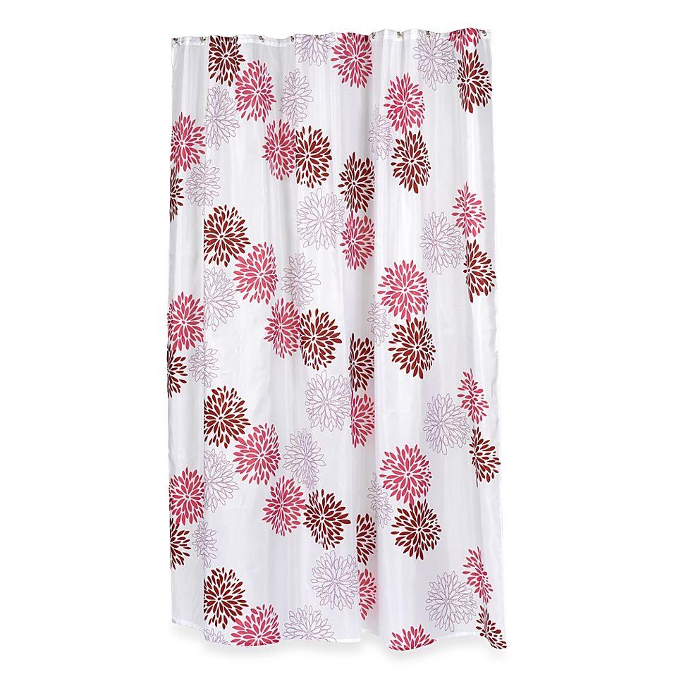 Home Fashions Emma Shower Curtain Burgundy Fabric Shower