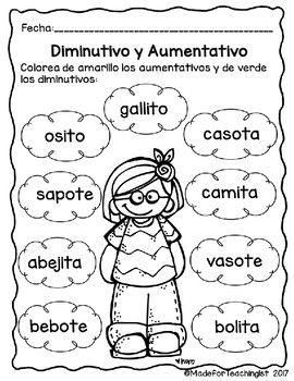 Diminutivos y Aumentativos: Hojas de tarea   Educacion   Pinterest ...