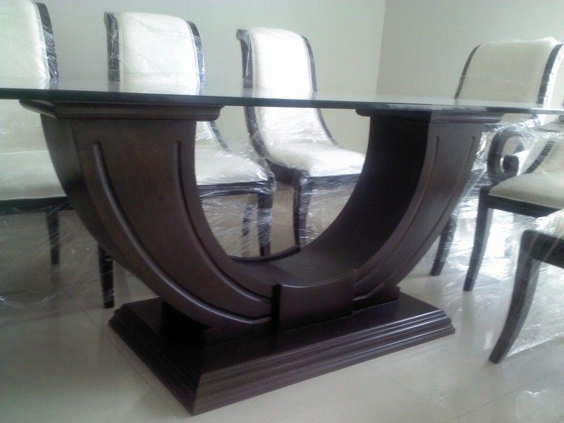 Base novatore para mesa rectangular en madera de banak for Mesas de cristal para comedor