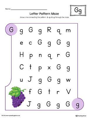 Letter G Pattern Maze Worksheet (Color)   Maze, Worksheets and ...