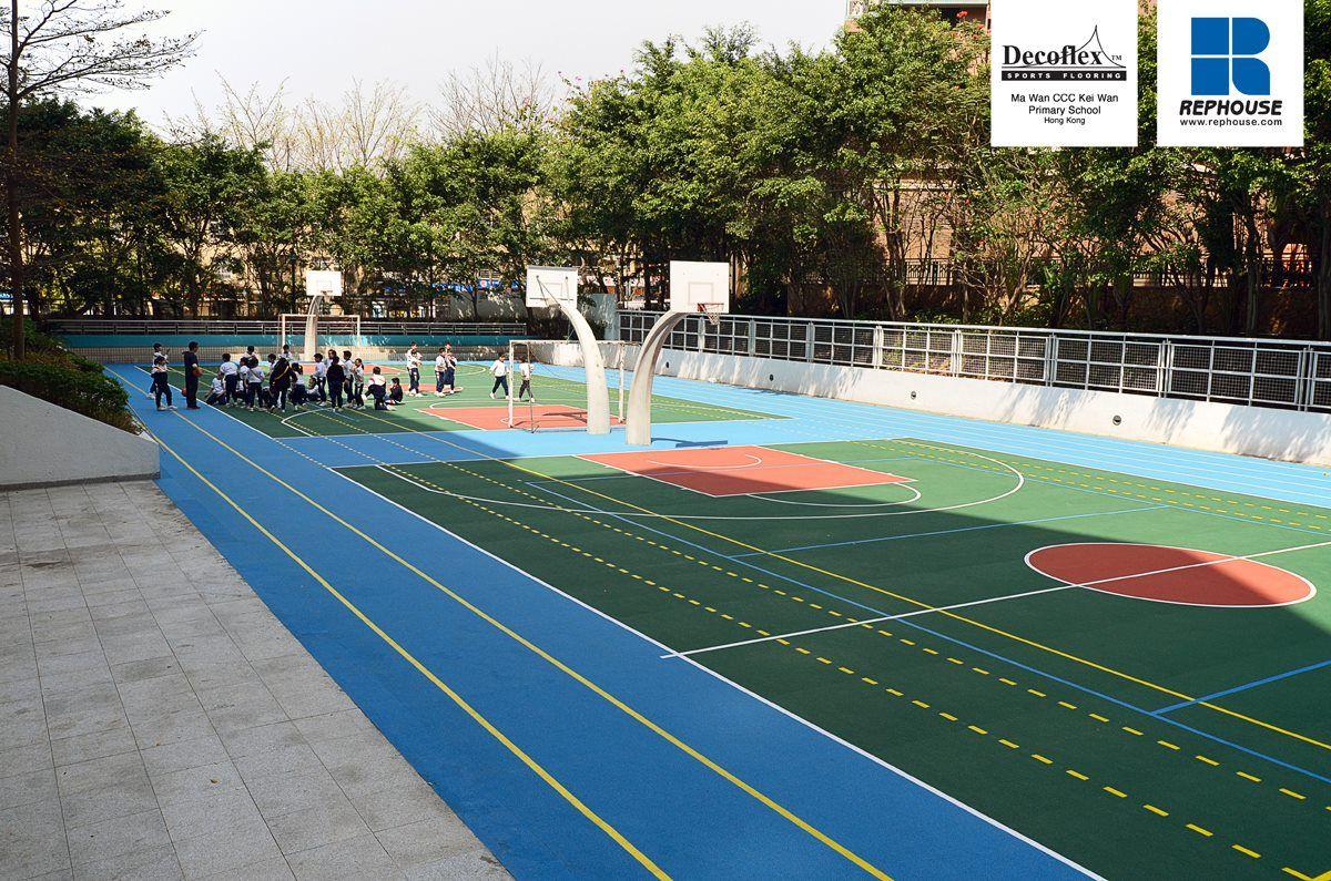 Decoflex D15 Outdoor Rubber Sports Flooring For Jogging Basketball And Volleyball Ma Wan Ccc Primary School Hong Kong Espacio Publico Espacio