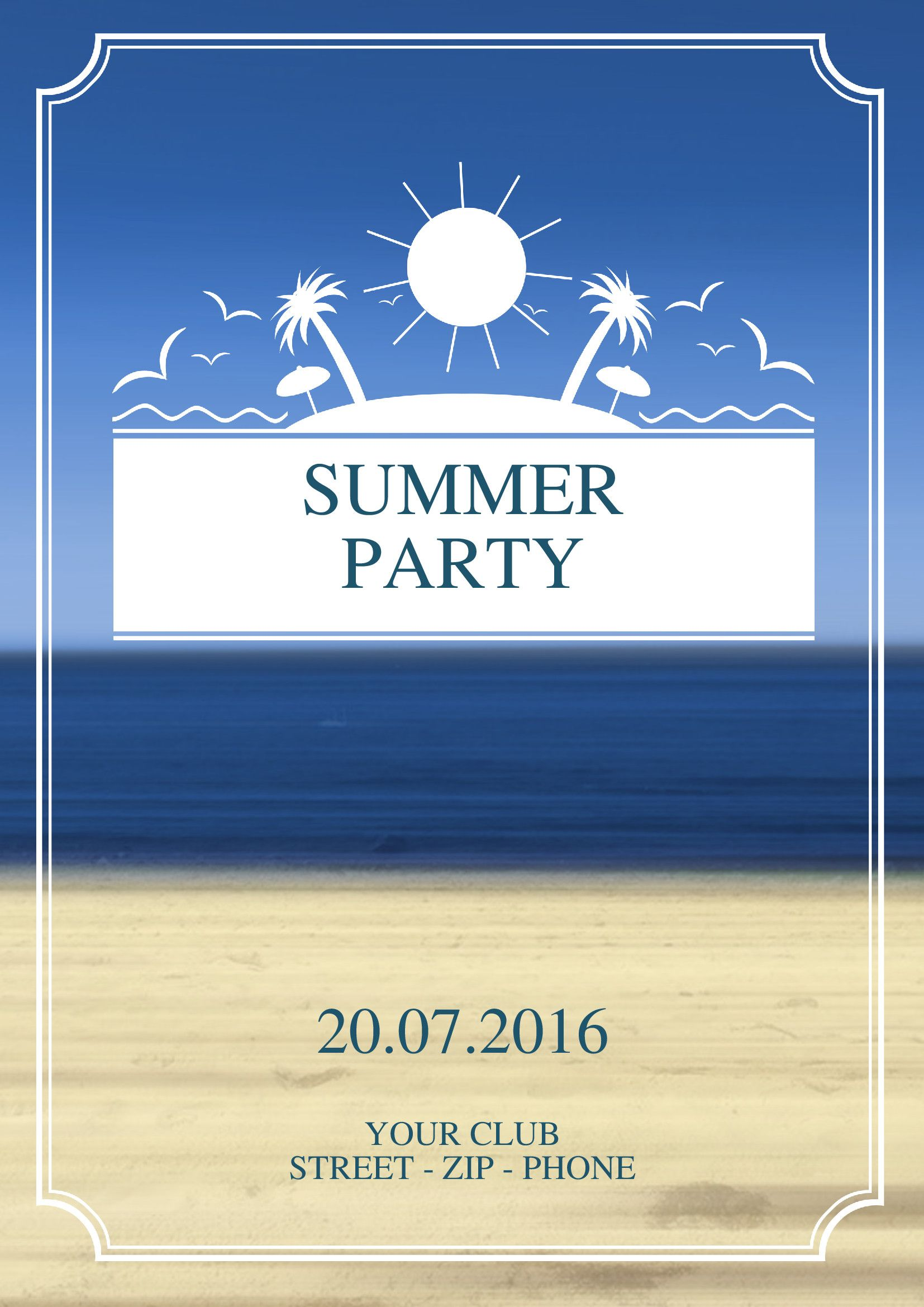 Use this fun, colorful invitation / flyer design for any Summer Party, Beach Party, Pool party, Spring Party or Cookout.