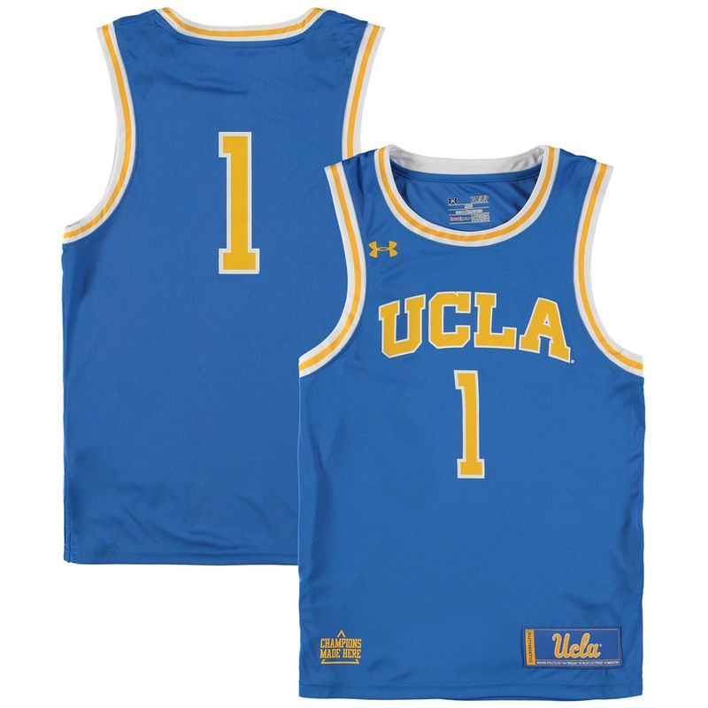 1 Ucla Bruins Under Armour Youth Replica Basketball Jersey Blue College Basketball Jersey Basketball Clothes Basketball Jersey
