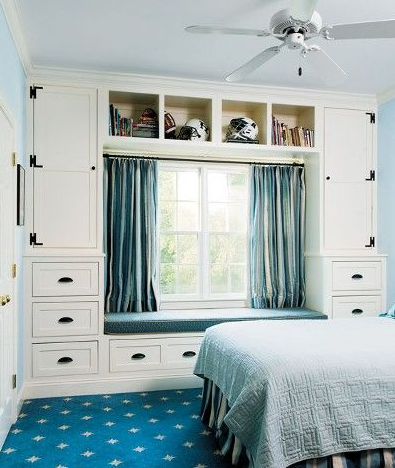 Drawers around window seat | Small space bedroom, Small room ...