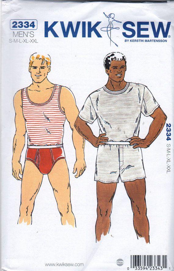 Kwik Sew 2334 Mens Boxers Briefs Tank Top T Shirt Adult Teen ...